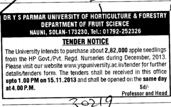 Purchase of Apple seedling (Dr Yashwant Singh Parmar University of Horticulture and Forestry)