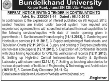 Sanitation and Housekeeping services (Bundelkhand University)