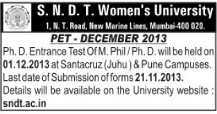 PhD and M Phil Entrance test (SNDT Women University)