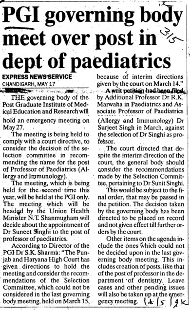 PGI governing body meet over post in dept of paediatrics (Post-Graduate Institute of Medical Education and Research (PGIMER))