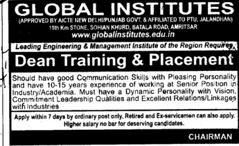 Dean training and Placement (Global Institutes Group)
