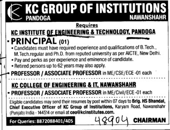 Principal and Associate Professor (KC Group of Institutions)