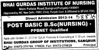 Post Basic BSc Nursing (Bhai Gurdas Institute of Nursing)