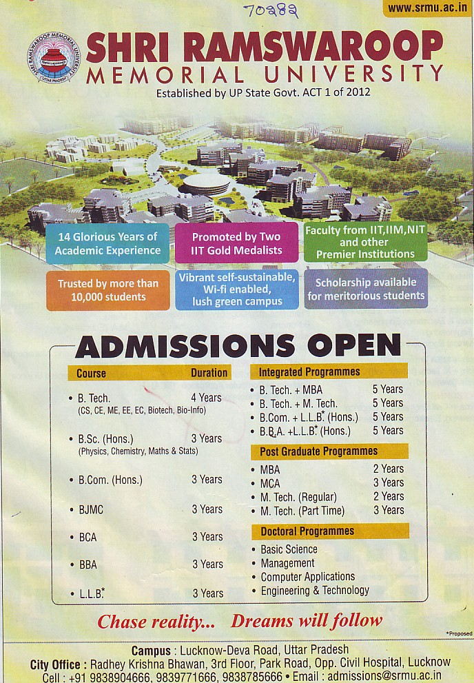BJMC and BBA courses (Shri Ramswaroop Memorial University SRMU)
