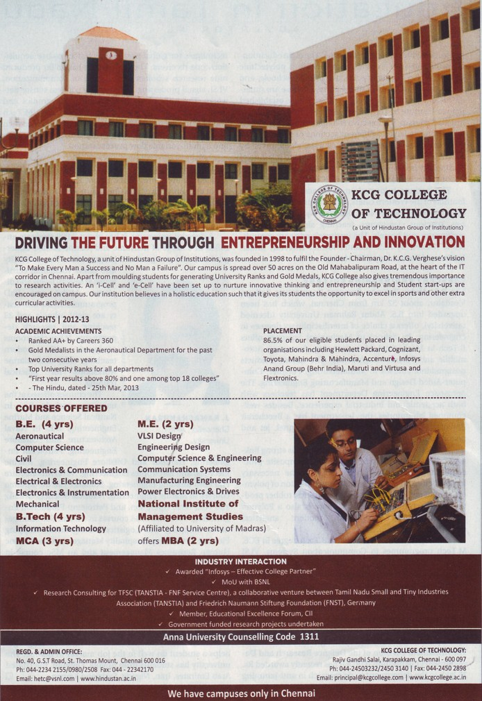 BE and ME courses (KCG College of Technology)