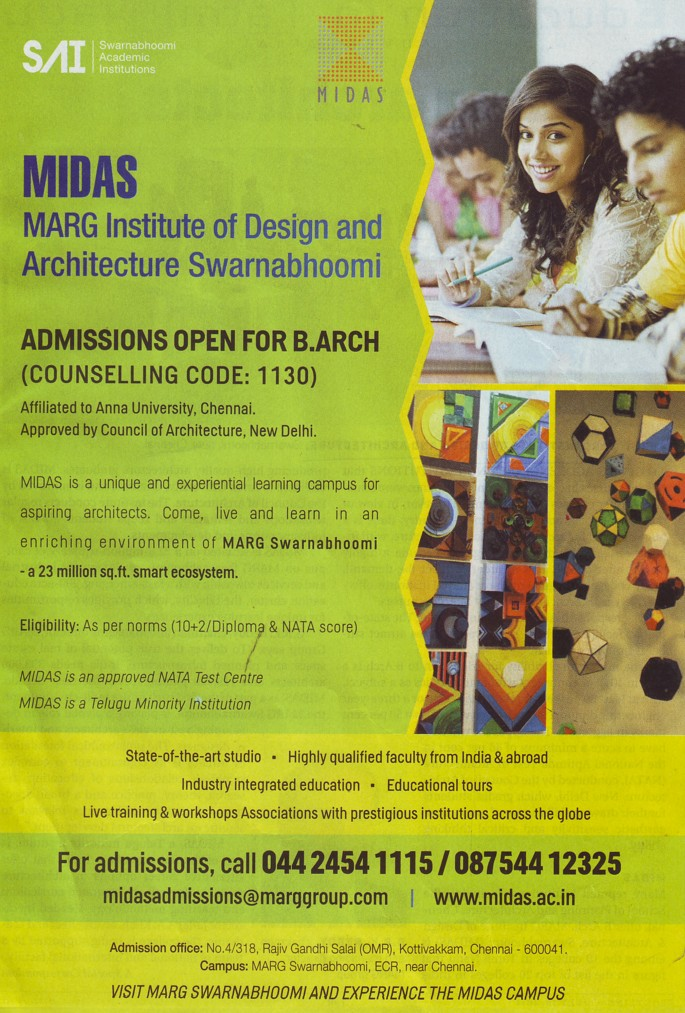 B Arch course (MARG Institute of Design and Architecture Swarnabhoomi (MIDAS))