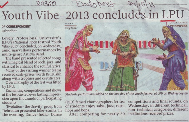 Youth Vibe 2013 concludes in LPU (Lovely Professional University LPU)