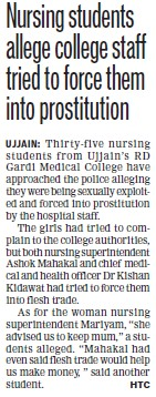 Nursing students allege college staff tried to force them into prostitution (RD Gardi Medical College)