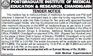 Purchase of Medicines (Post-Graduate Institute of Medical Education and Research (PGIMER))