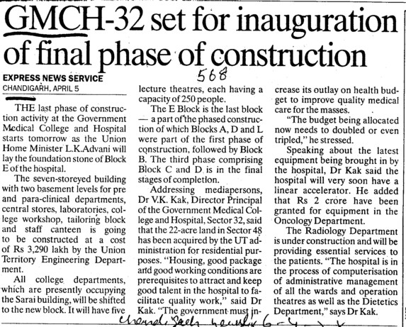 Inauguration of final phase of construction (Government Medical College and Hospital (Sector 32))