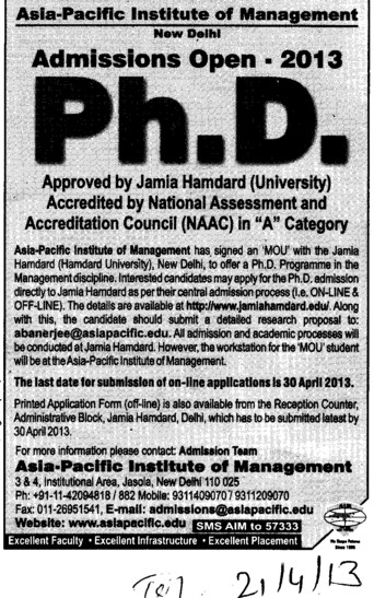 PhD course (Asia Pacific Institute of Management)
