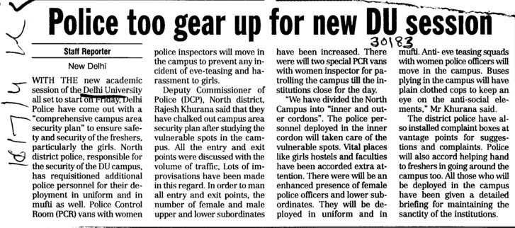 Police too gear up for new DU session (Delhi University)