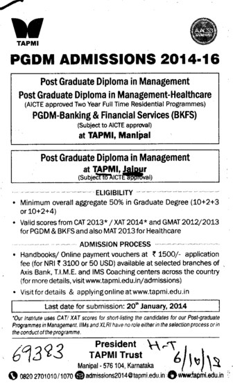 Post Graduate Diploma in Management (TAPMI School of Business)