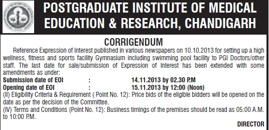 Changes in tender (Post-Graduate Institute of Medical Education and Research (PGIMER))