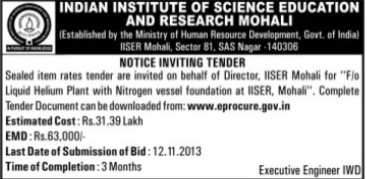 Supply of Liquid Helium Plant (Indian Institute of Science Education and Research (IISER))