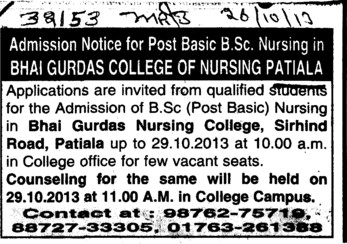 BSc Nursing course (Bhai Gurdas General Nursing School)