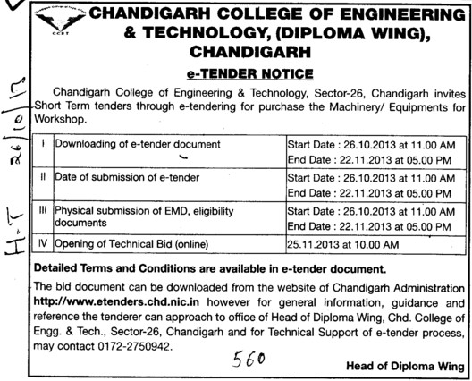 Purchase of Machinery for workshop (Chandigarh College of Engineering and Technology (CCET))