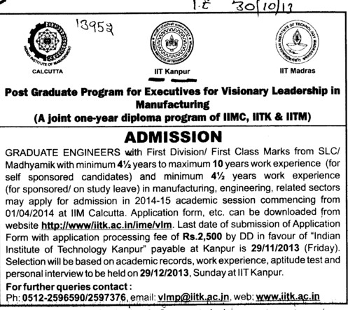 PGP for executive for visionary leadership in Manufacturing (Indian Institute of Technology (IITK))