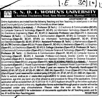 Associate Professor for LAw (SNDT Women University)