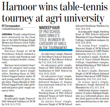 Harnoor wins table tennis tourney at Agri University (Punjab Agricultural University PAU)