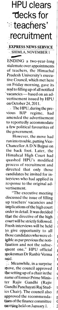 HPU clears decks for teachers recruitment (Himachal Pradesh University)