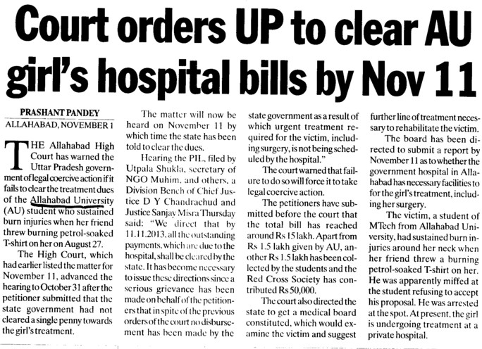 Court orders UP to clear AU girls hospital bills by Nov 11 (University of Allahabad)
