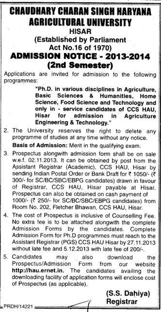 PhD in Humanities (Ch Charan Singh Haryana Agricultural University (CCSHAU))