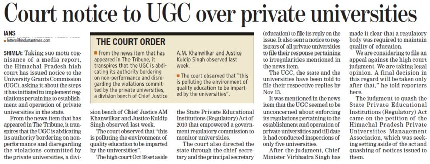 Court notice to UGC over Pvt Universities (University Grants Commission (UGC))