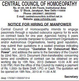 Hiring of Manpower (Central Council of Homoeopathy (CCH))