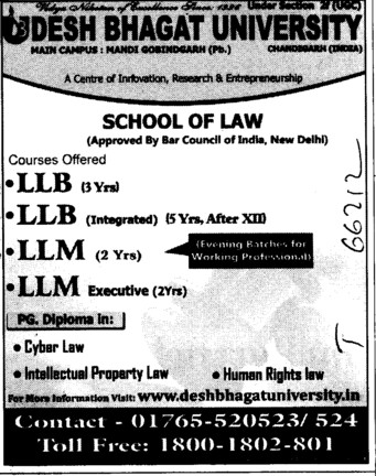 LLB and LLM (Desh Bhagat University)