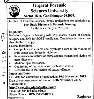 Post Basic Diploma in Forensic Science (Gujarat Forensic Sciences University)