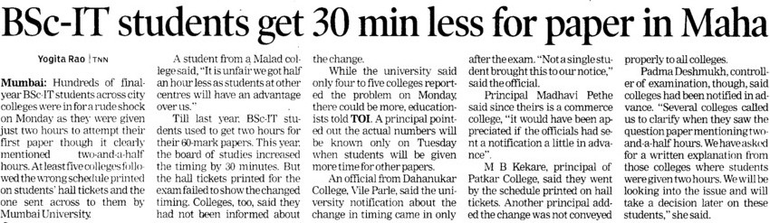 BSc IT students get 30 min less for paper in Maha (University of Mumbai)