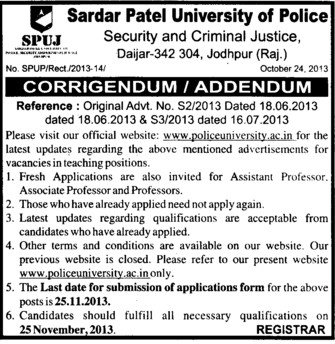 Associate Professor (Sardar Patel University)