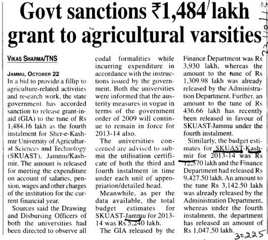 Govt sanctions Rs 1484 lakh grant to agricultural varsities (Sher-e-Kashmir University of Agricultural Sciences and Technology of Kashmir)