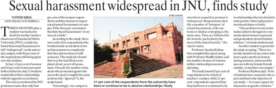 Sexual harassment widespread in JNU (Jawaharlal Nehru University)