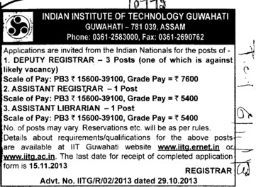 Deputy Registrar (Indian Institute of Technology IIT)