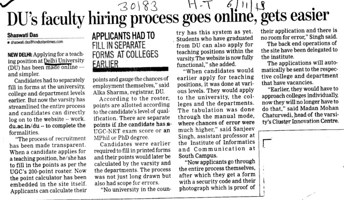 DUs faculty hiring process goes online, gets easier (Delhi University)
