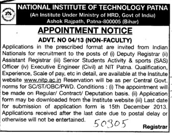 Senior students activity and sports officer (Indian Institute of Technology IIT)