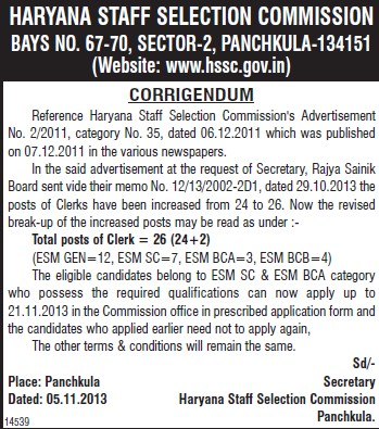 Clerk posts (Haryana Staff Selection Commission (HSSC))