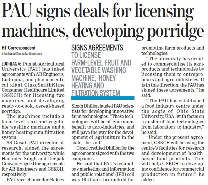 PAU signs deals for licensing machines, developing porridge (Punjab Agricultural University PAU)