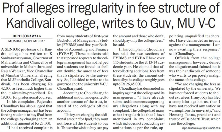 Prof alleges irregularity in fee structure,  MU VC (University of Mumbai (UoM))
