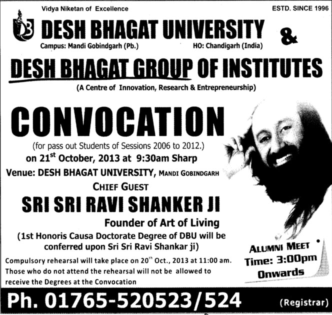 Annual convocation 2013 held (Desh Bhagat Group of Institutes)