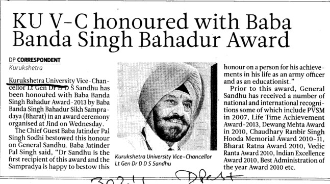 VC honoured with Baba Banda Singh Bahadur Award (Kurukshetra University)
