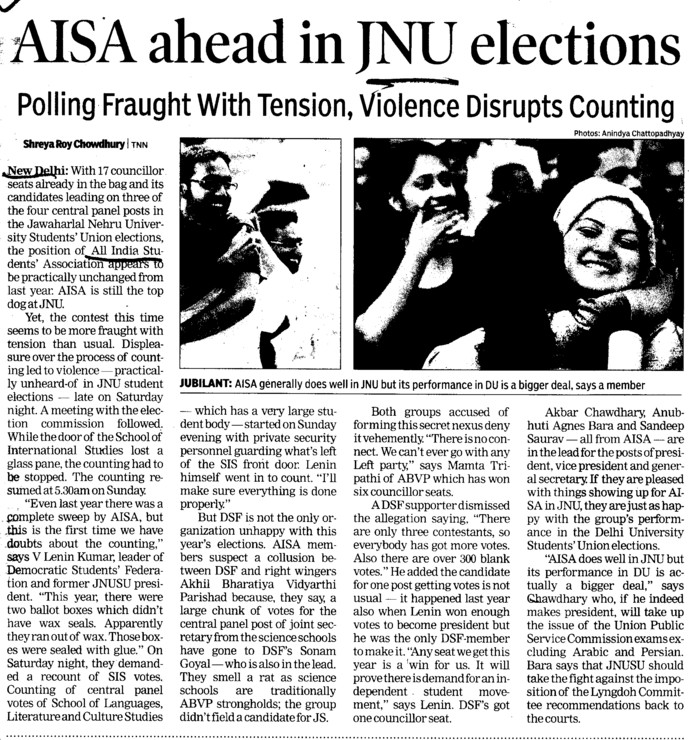 AISA ahead in JNU elections (Jawaharlal Nehru University)