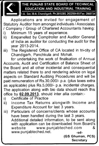 Statutory Auditor (Punjab State Board of Technical Education (PSBTE) and Industrial Training)