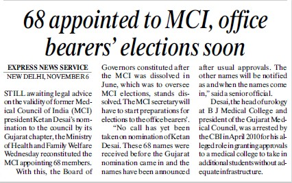68 appointed to MCI, office bearers elections soon (Medical Council of India (MCI))