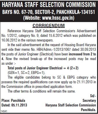 Junior Engineer Electrical (Haryana Staff Selection Commission (HSSC))