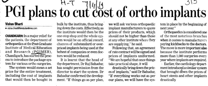 PGI plans to cut cost of ortho implants (Post-Graduate Institute of Medical Education and Research (PGIMER))