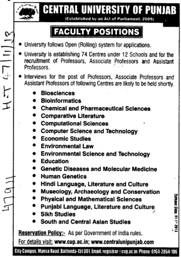 Asstt Professor in Bioscience (Central University of Punjab)