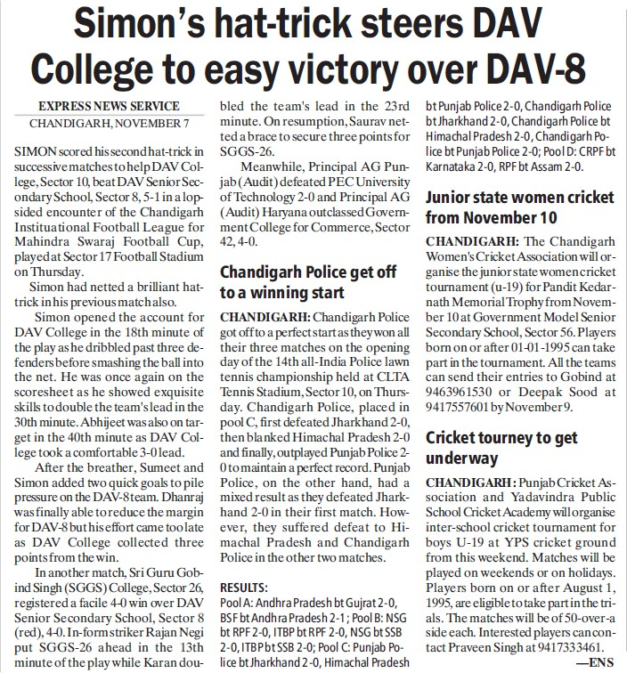 Simon's hat trick steers College to easy victory over DAV 8 (DAV College Sector 10)